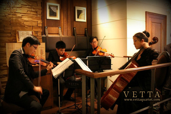 string quartet at Caffe B at Marina Bay Sands