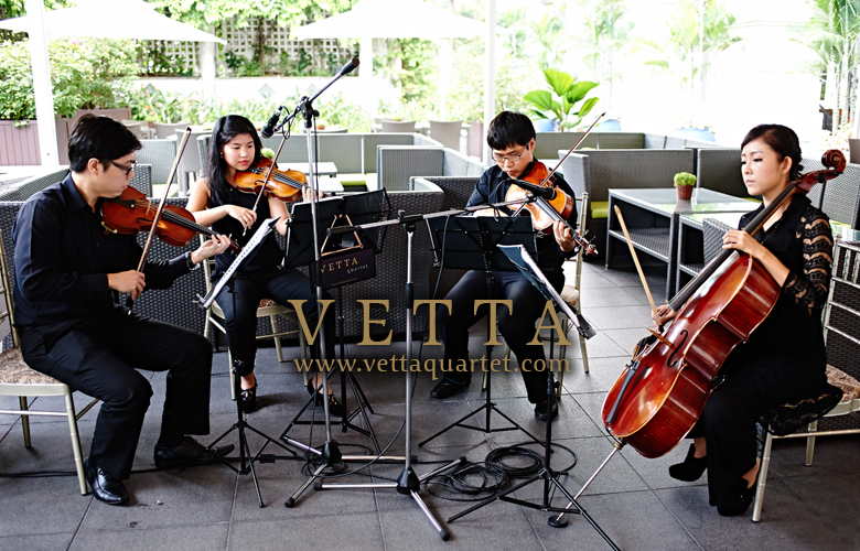 Live string quartet music for Weddings at Fullerton Singapor
