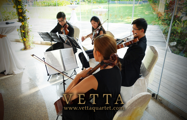 String Quartet for Wedding Solemnisation at Equarius Hotel's Glass Pavilion