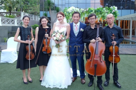 String Quartet Musicians for Wedding at Hotel Fort Canning, Outdoor Marquee