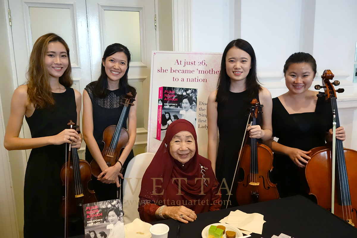 VETTA all-female String Quartet for a book launch on Mdm Puan Noor Aishah First Lady of Singapore