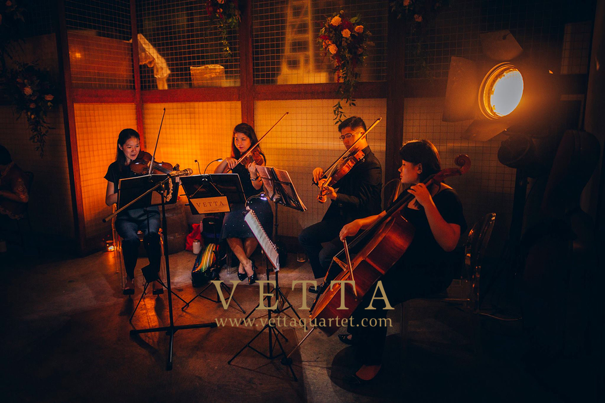 String Quartet playing Live music for Wedding in Singapore Wine Bar