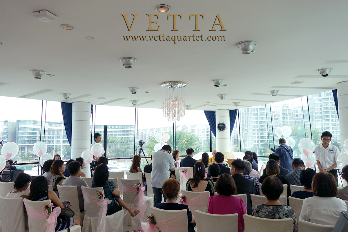 Four String Musicians and One Pianist live band for wedding solemnization at ONE°15 Marina Club