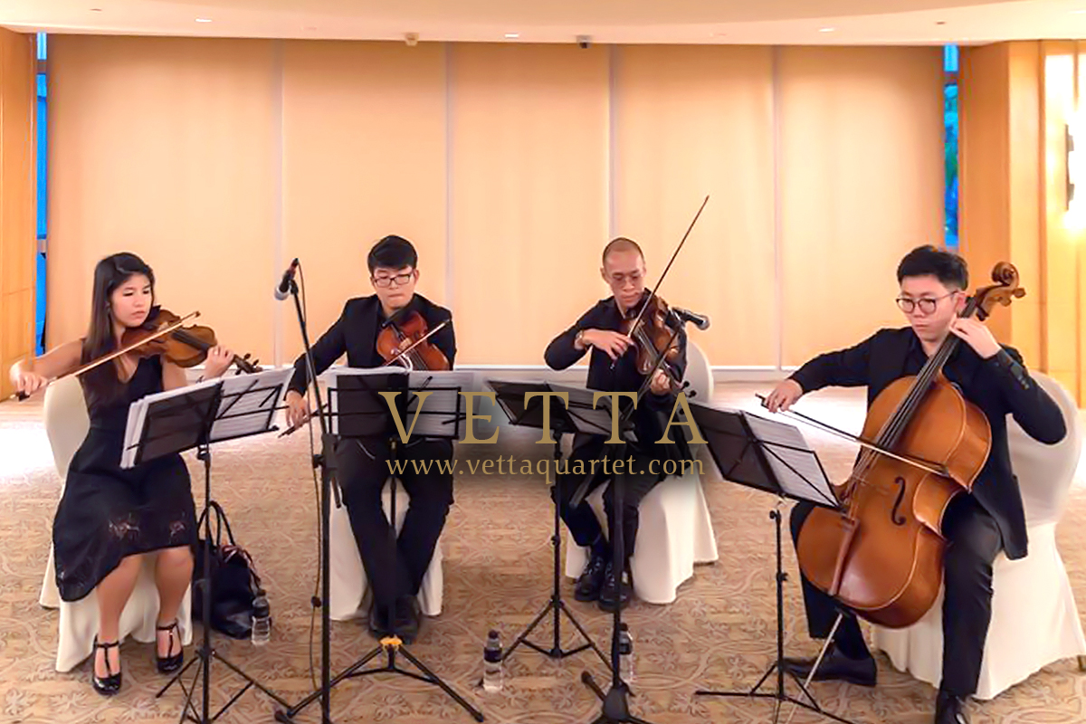 String Quartet playing for wedding at Ritz Carlton Singapore