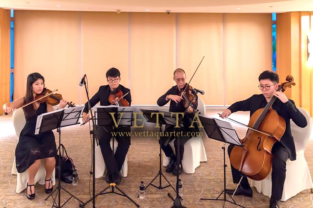 String Quartet playing for wedding at Ritz Carlton Singapore