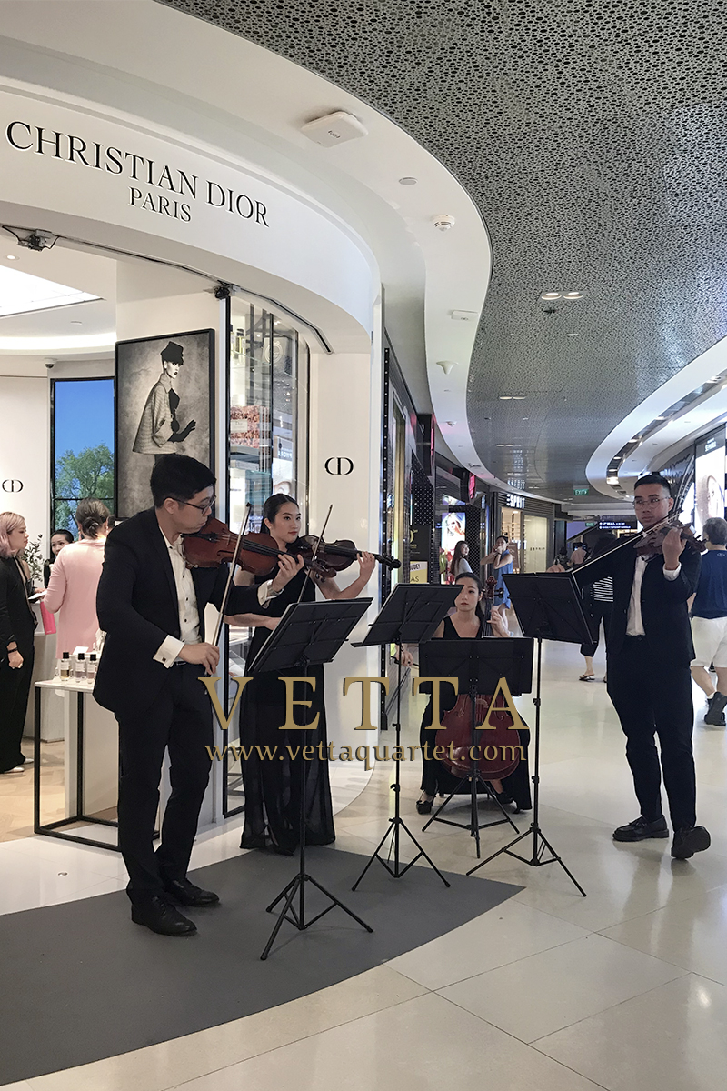 Four String Musicians playing music for Dior Grand Opening at ION Orchard Singapore