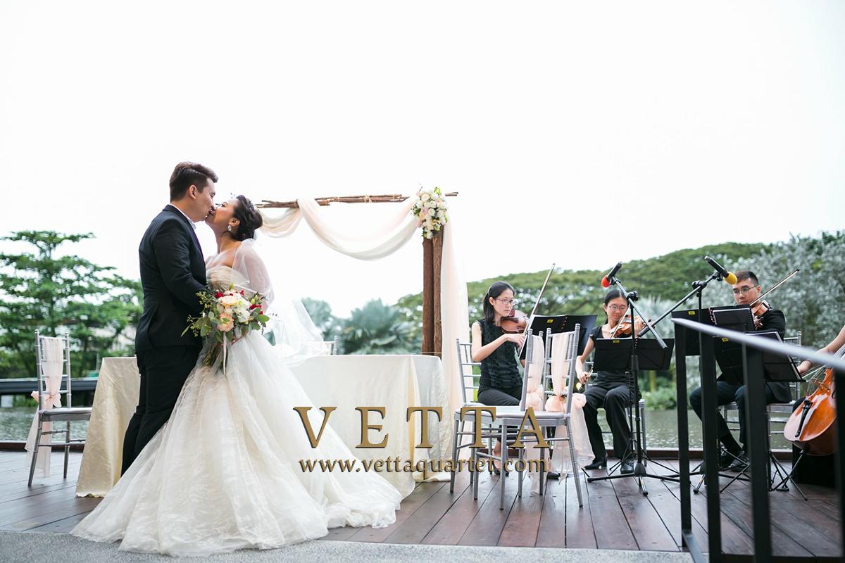 String Quartet playing live music for Wedding at Vineyard Hortpark Singapore