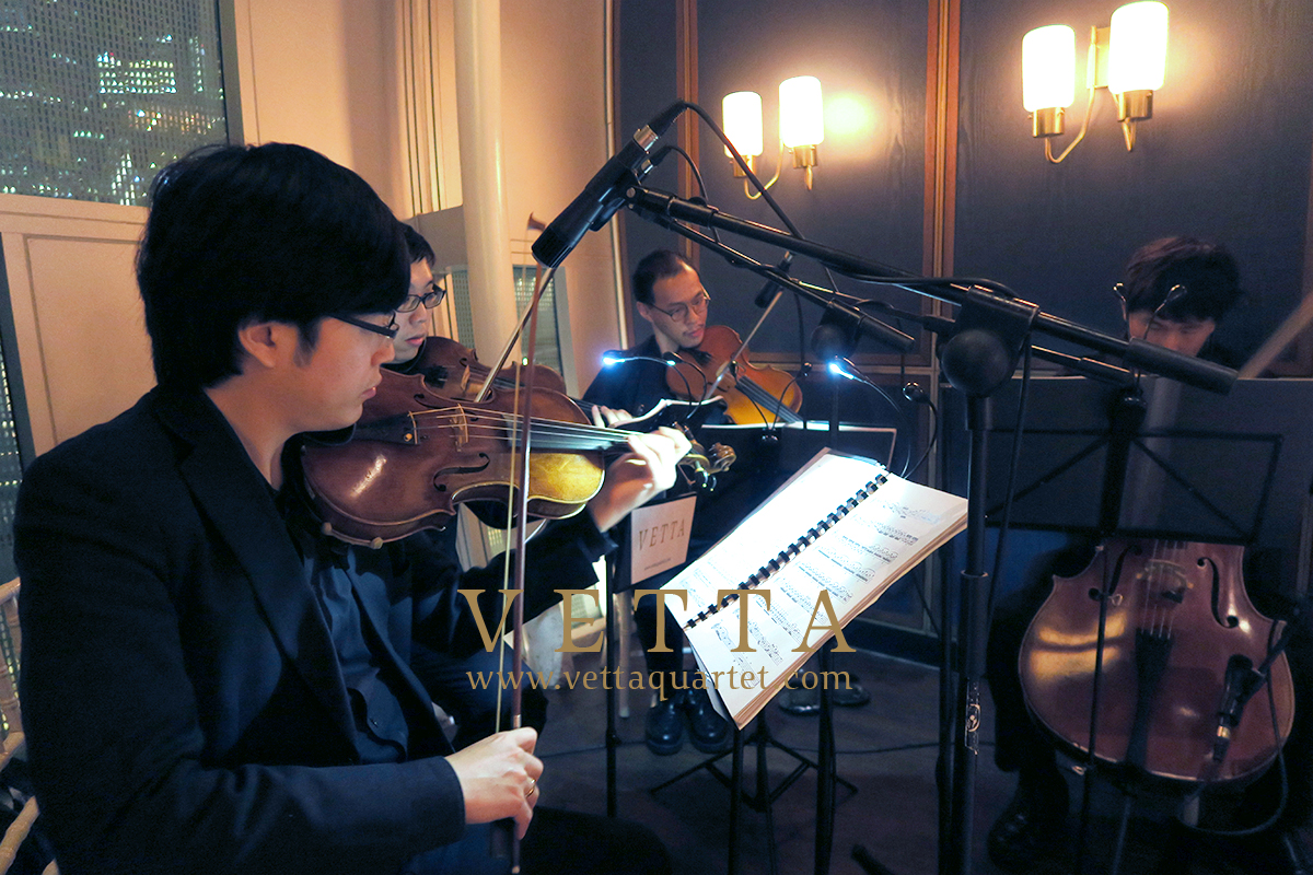 String Quartet playing for banquet at Monti Restaurant