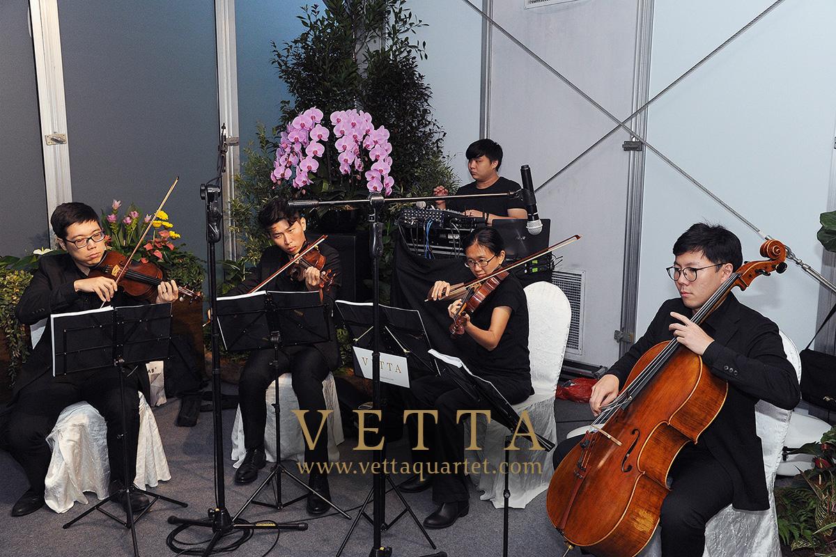 Live String Quartet playing music for Garden Festival Singapore