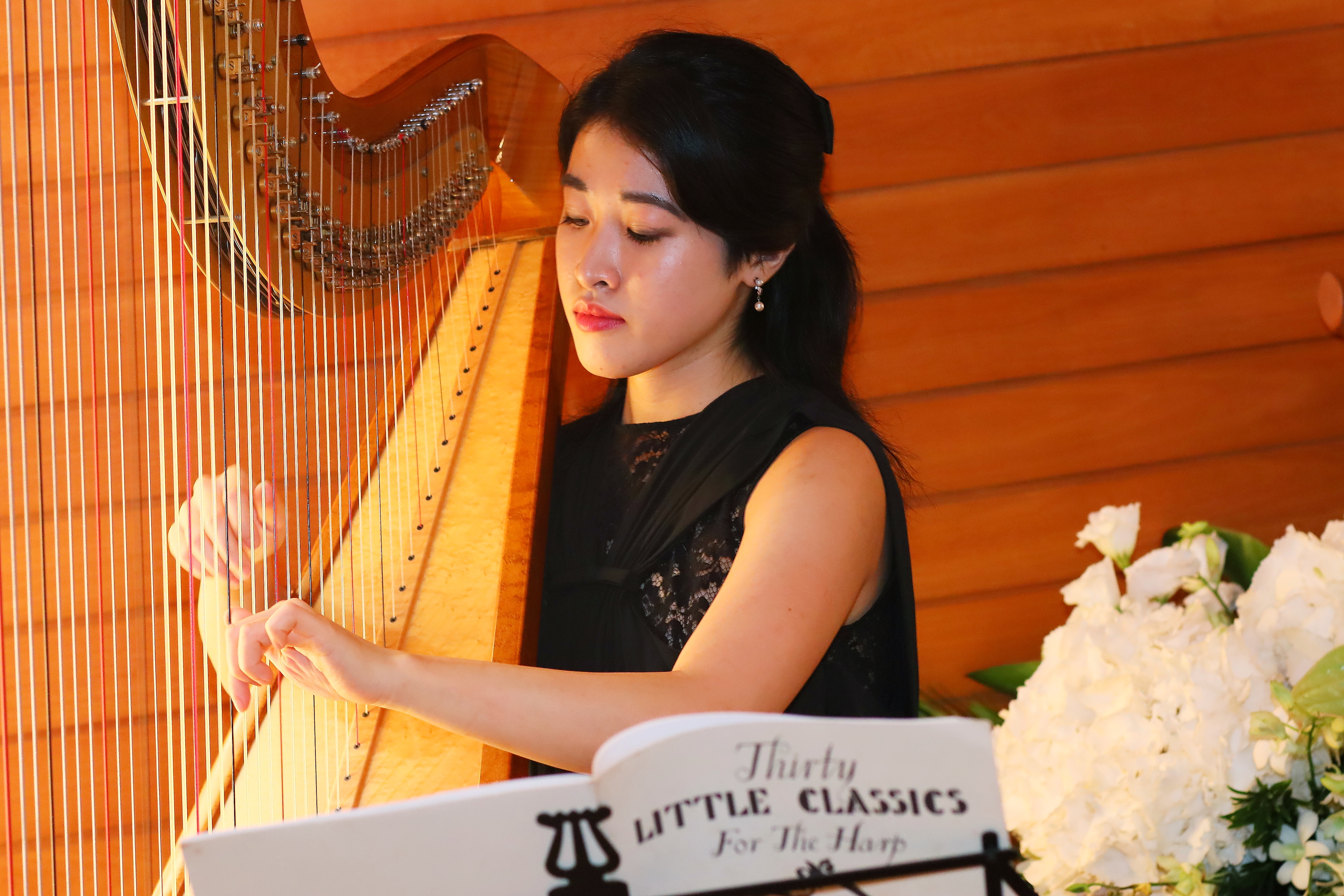 Elegant Solo Harp playing background music for Blancpain event Singapore