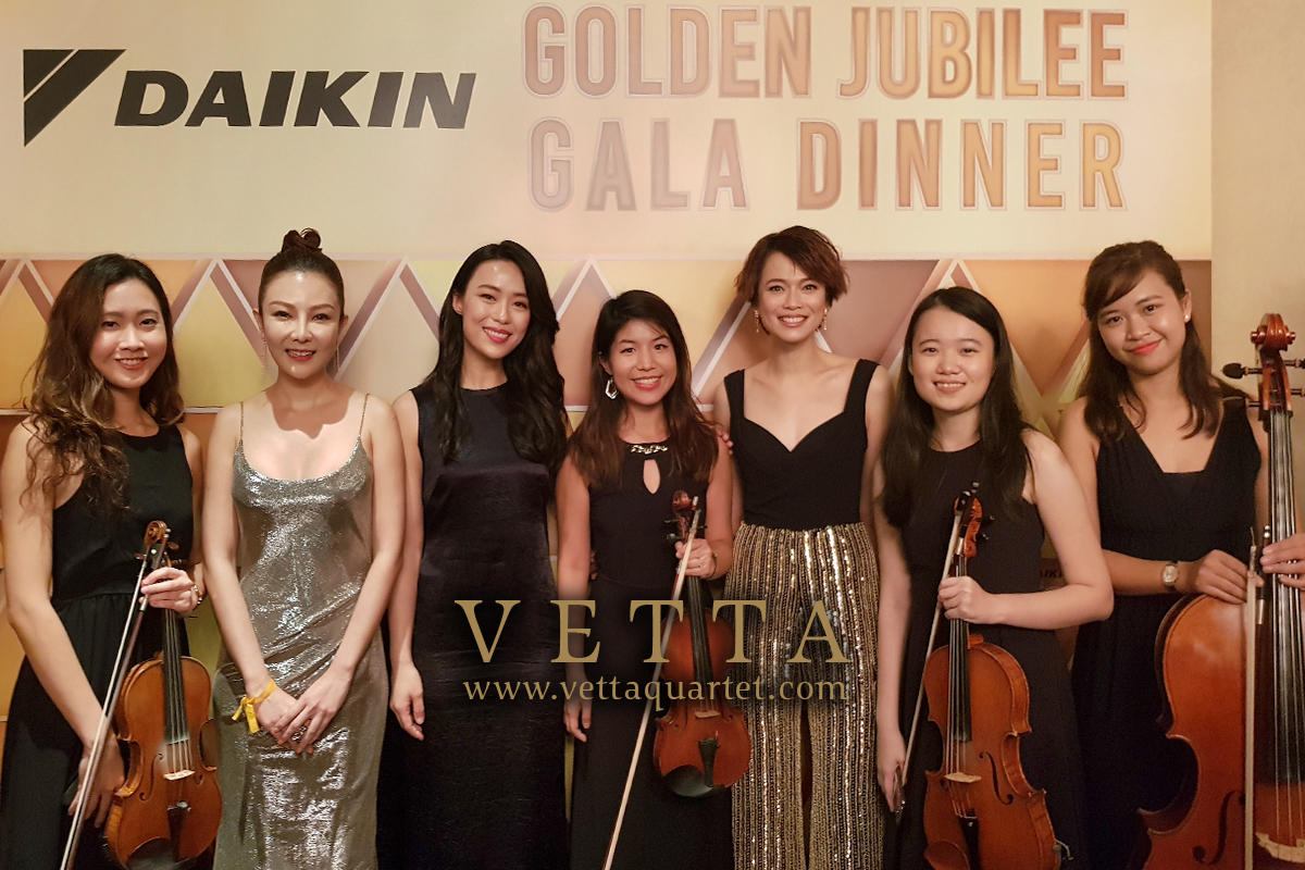 All-ladies String Quartet performing for daikin dinner